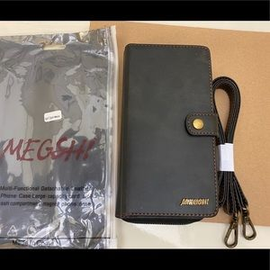 Megshi iPhone 11 Pro Max Black Wallet Phone Case
